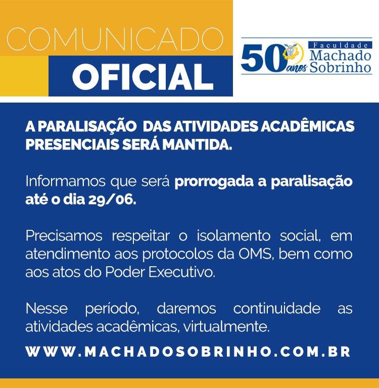 COMUNIDADO OFICIAL - PARALISAÇÃO PRORROGADA